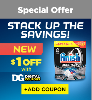 Stack up the savings! New $1 off Finish Quantum with Dollar General Digital Coupons.