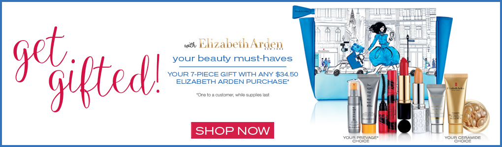 Receive your choice of 7-piece bonus gift with your $34.50 Elizabeth Arden purchase